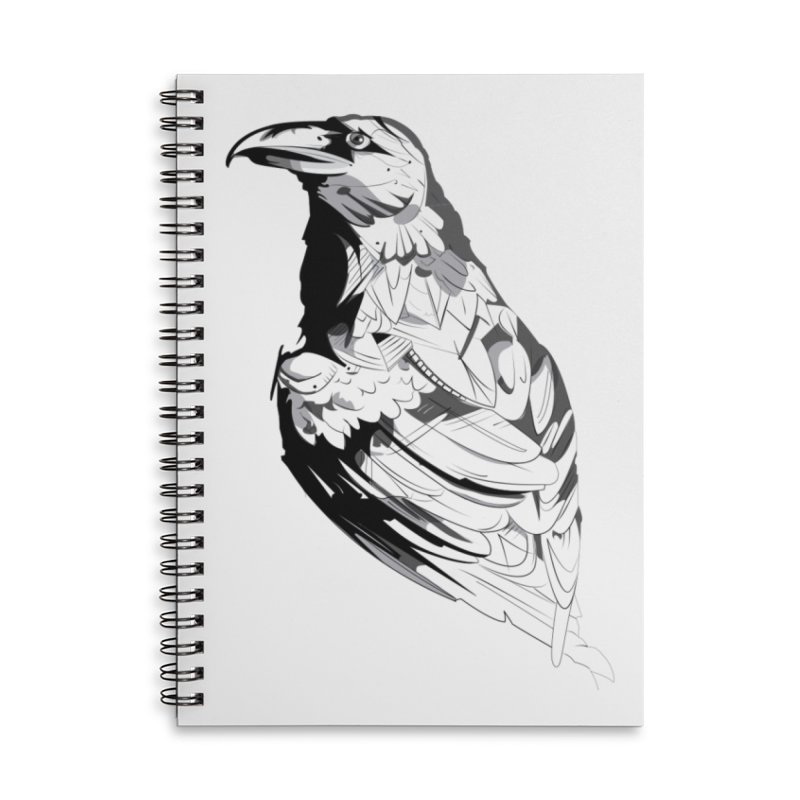 Crow Accessories Lined Spiral Notebook by Shirt For Brains