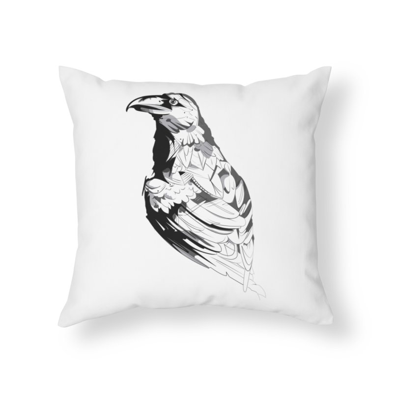 Crow Home Throw Pillow by Shirt For Brains