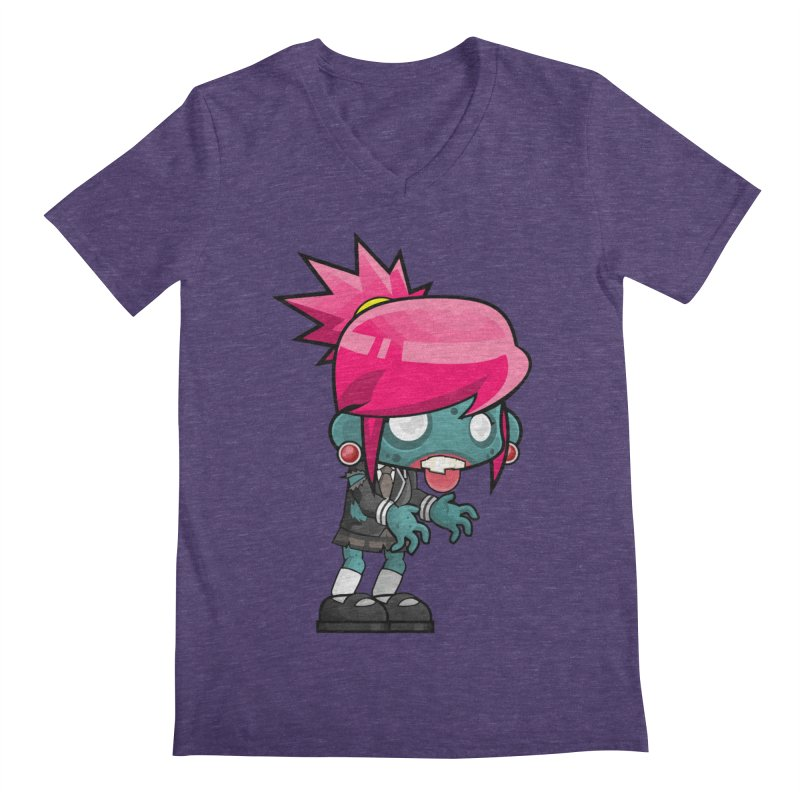 Zombie Girl Men's Regular V-Neck by Shirt For Brains