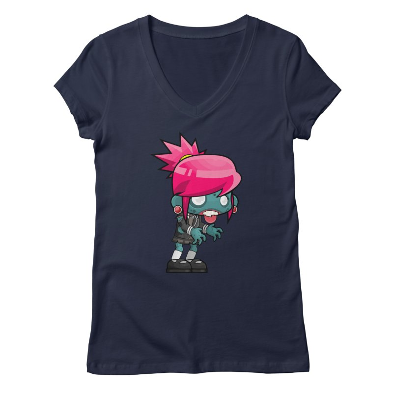 Zombie Girl Women's V-Neck by Shirt For Brains