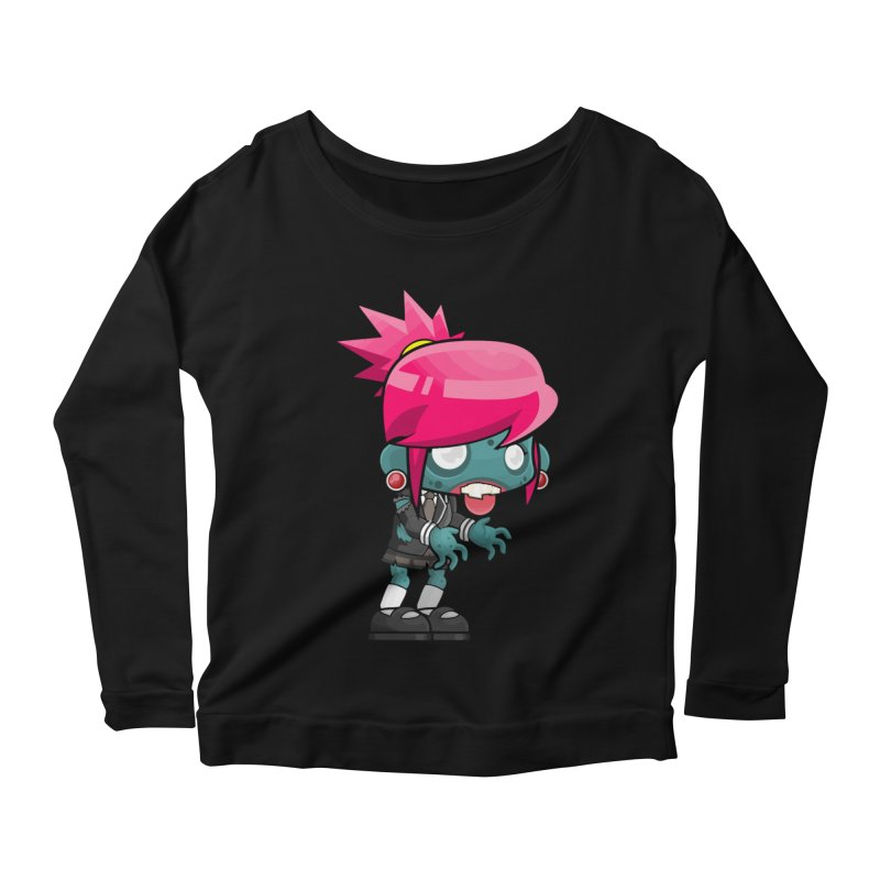 Zombie Girl Women's Scoop Neck Longsleeve T-Shirt by Shirt For Brains