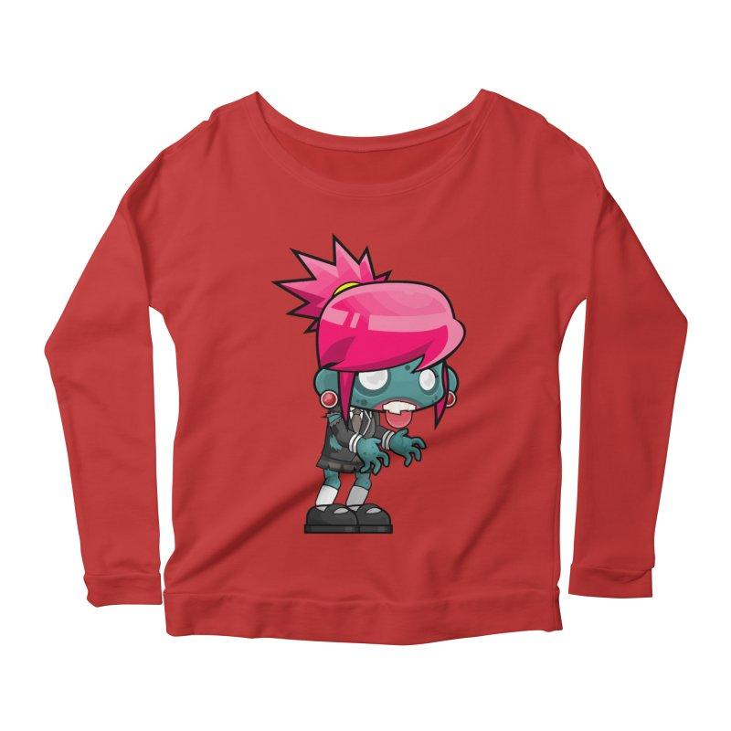 Zombie Girl Women's Scoop Neck Longsleeve T-Shirt by Shirt For Brains