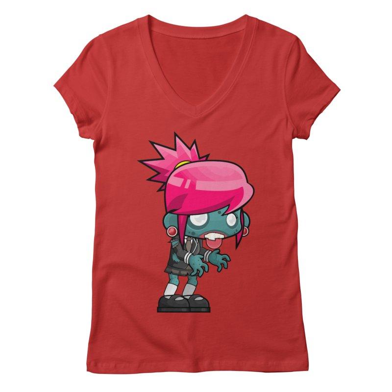 Zombie Girl Women's Regular V-Neck by Shirt For Brains