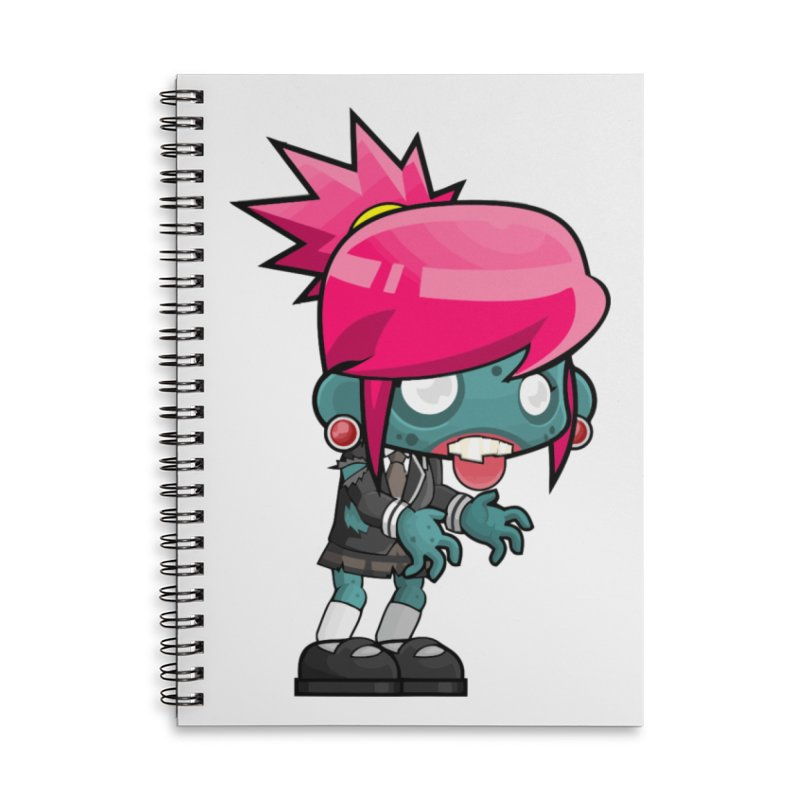 Zombie Girl Accessories Lined Spiral Notebook by Shirt For Brains