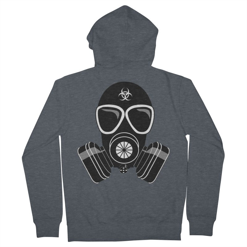 Gas Mask Women's French Terry Zip-Up Hoody by Shirt For Brains