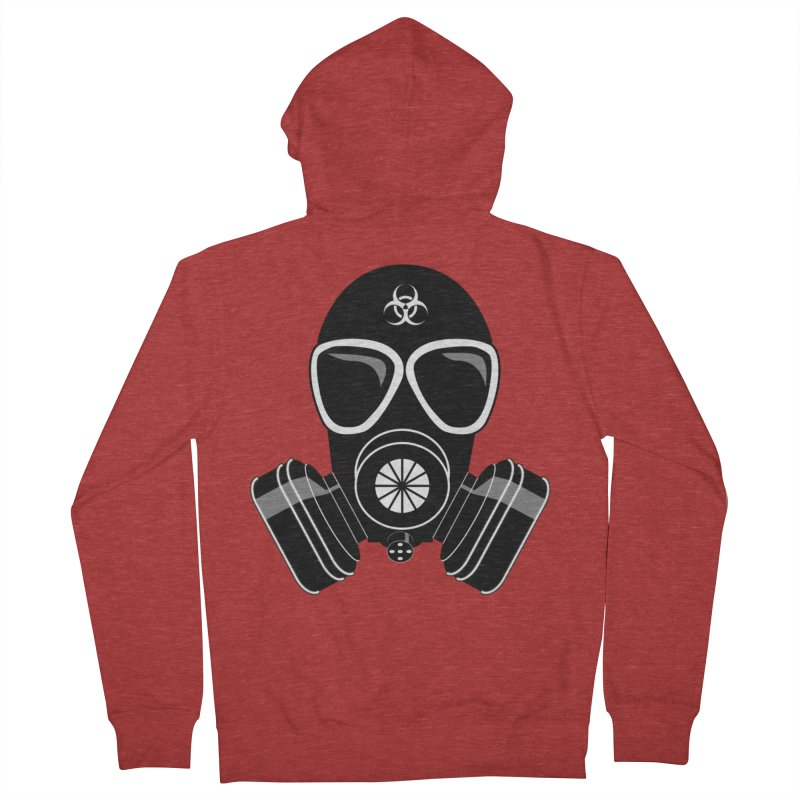 Gas Mask Men's French Terry Zip-Up Hoody by Shirt For Brains