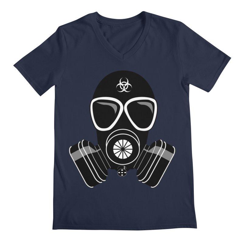 Gas Mask Men's V-Neck by Shirt For Brains