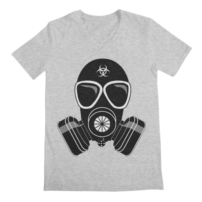 Gas Mask Men's V-Neck by Shirt For Brains