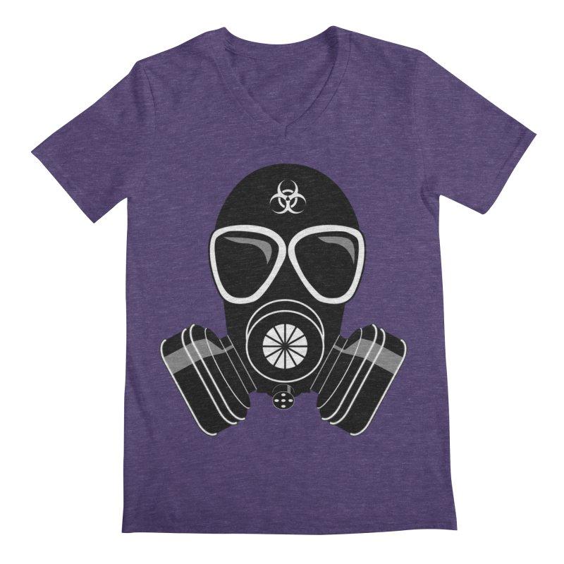 Gas Mask Men's Regular V-Neck by Shirt For Brains