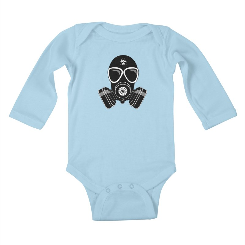 Gas Mask Kids Baby Longsleeve Bodysuit by Shirt For Brains
