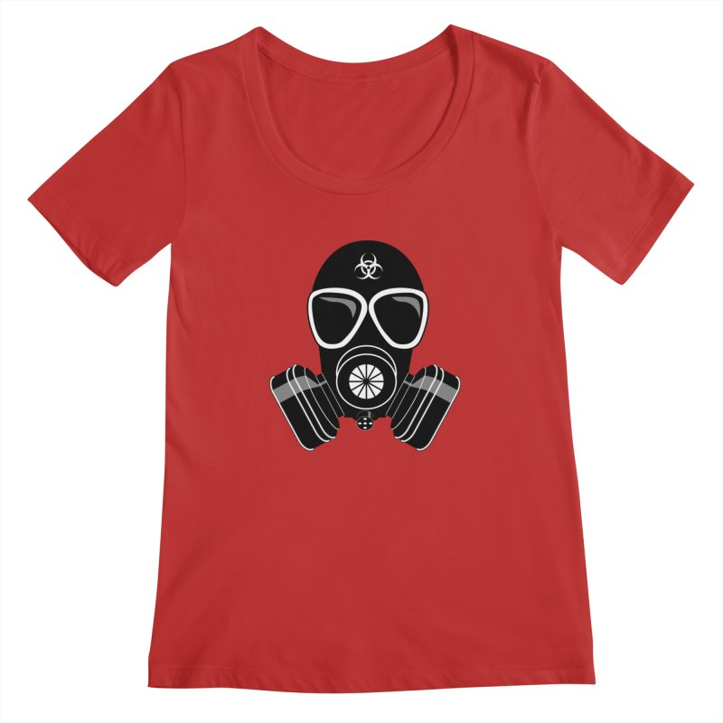 Gas Mask Women's Regular Scoop Neck by Shirt For Brains