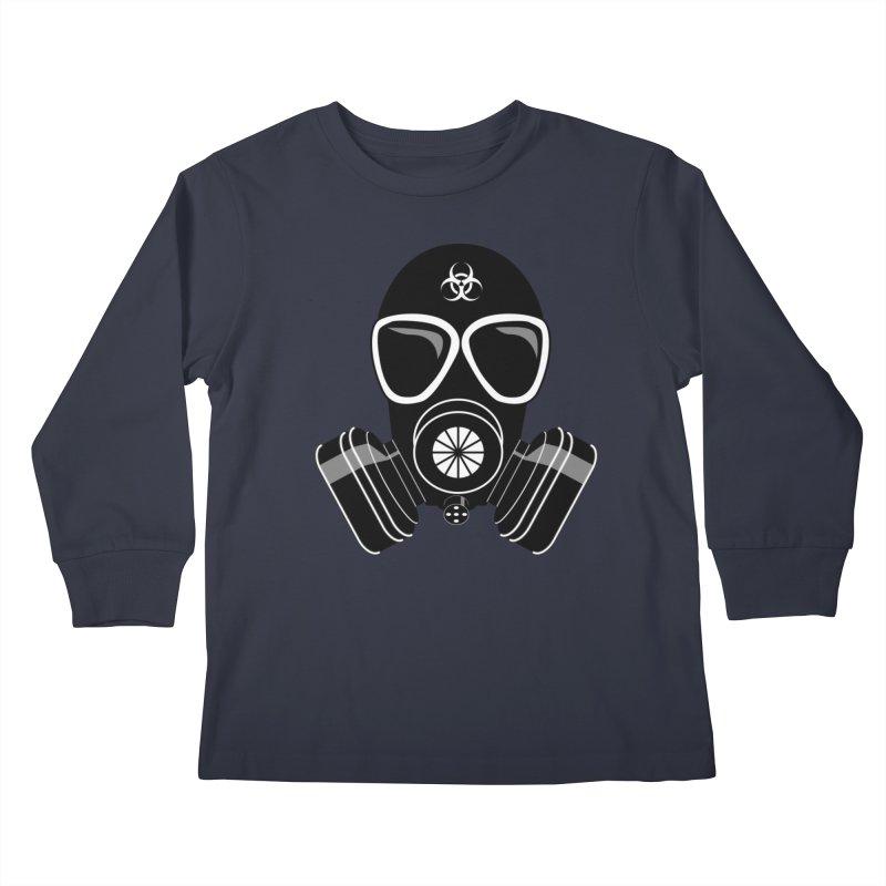 Gas Mask Kids Longsleeve T-Shirt by Shirt For Brains