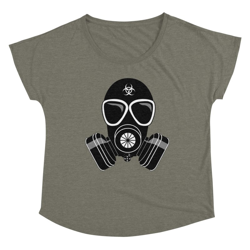 Gas Mask Women's Scoop Neck by Shirt For Brains