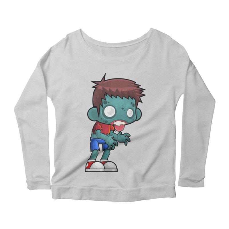 Zombie Boy Women's Scoop Neck Longsleeve T-Shirt by Shirt For Brains