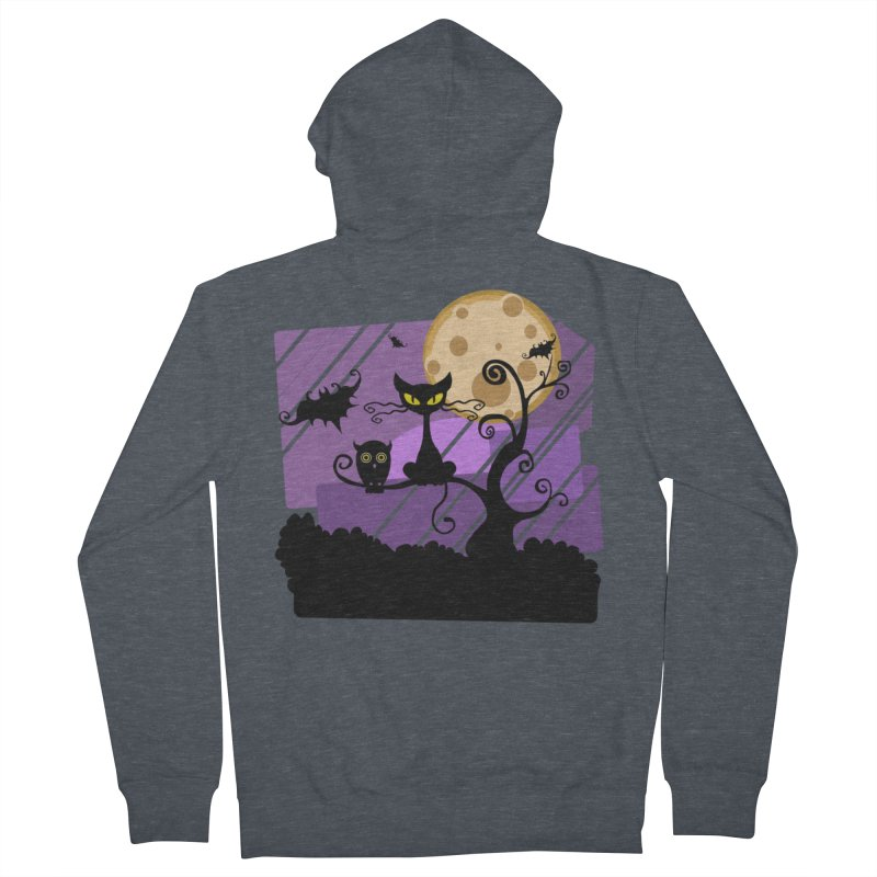 Halloween Night Women's French Terry Zip-Up Hoody by Shirt For Brains