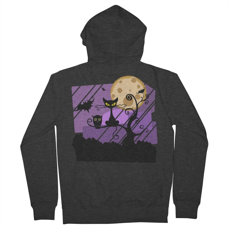 Halloween Night Men's French Terry Zip-Up Hoody by Shirt For Brains