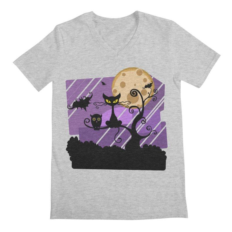 Halloween Night Men's Regular V-Neck by Shirt For Brains