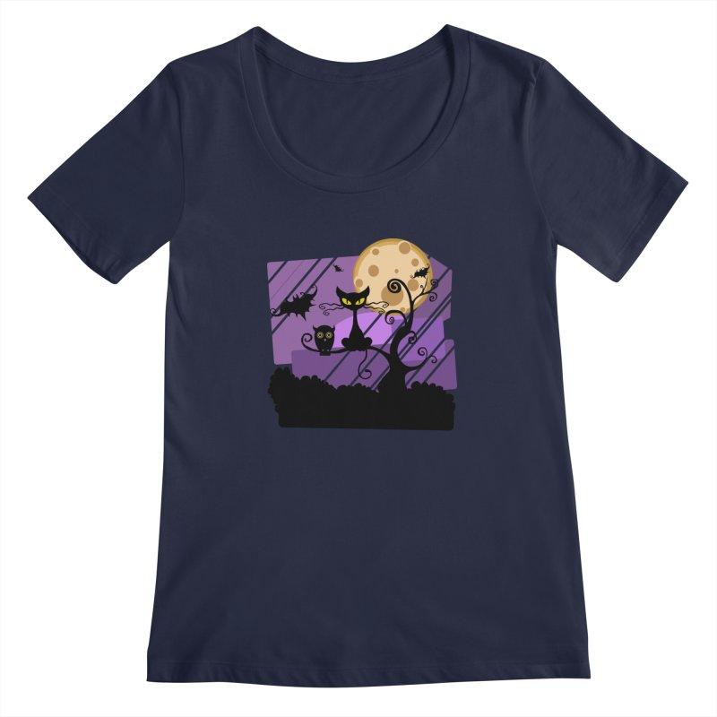 Halloween Night Women's Regular Scoop Neck by Shirt For Brains