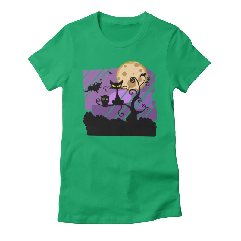 Halloween Night Women's Fitted T-Shirt by Shirt For Brains