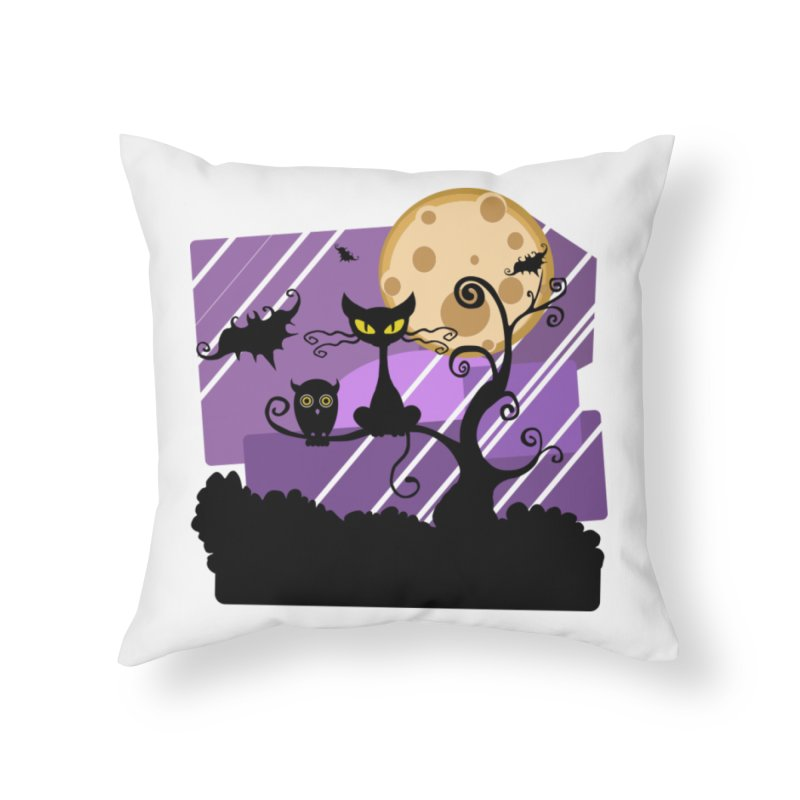 Halloween Night Home Throw Pillow by Shirt For Brains