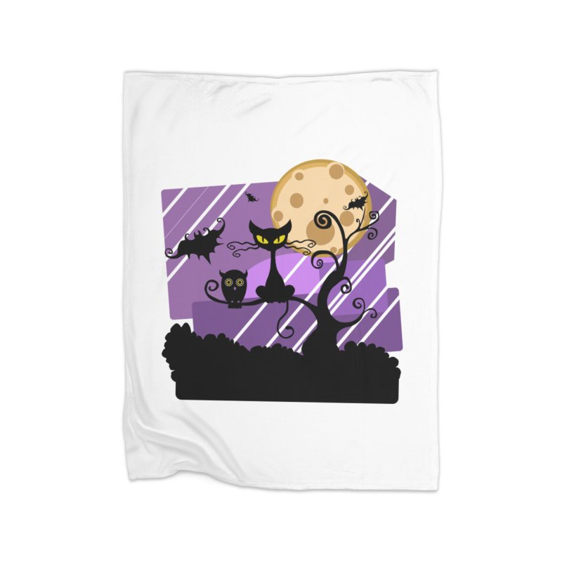 Halloween Night Home Fleece Blanket Blanket by Shirt For Brains