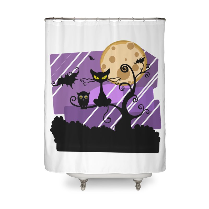Halloween Night Home Shower Curtain by Shirt For Brains