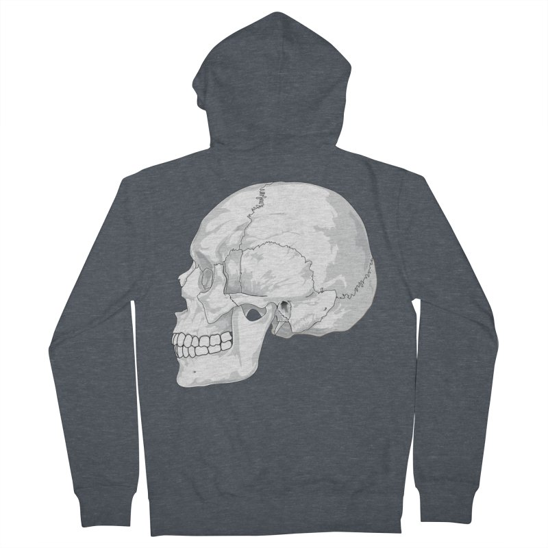 Skull Women's French Terry Zip-Up Hoody by Shirt For Brains