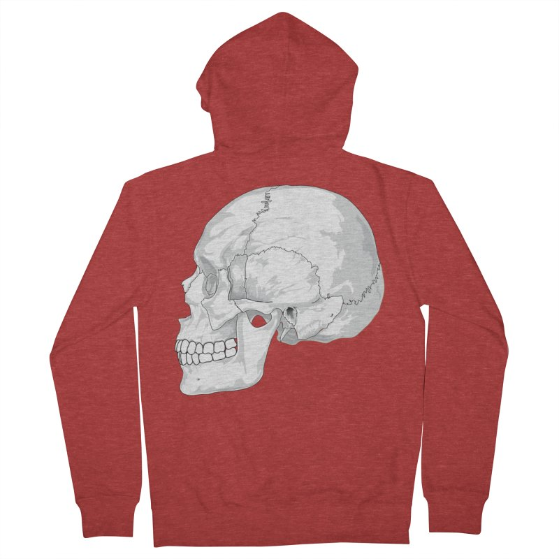 Skull Men's French Terry Zip-Up Hoody by Shirt For Brains