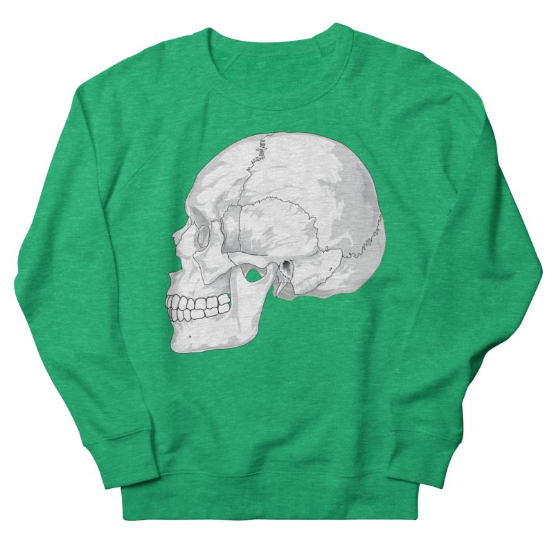 Skull Men's French Terry Sweatshirt by Shirt For Brains