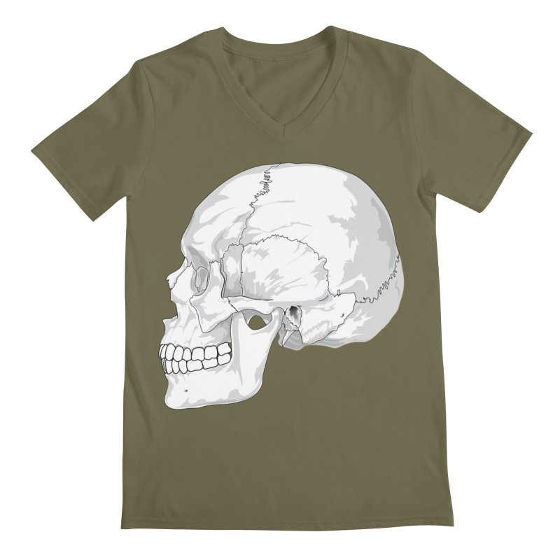 Skull Men's V-Neck by Shirt For Brains