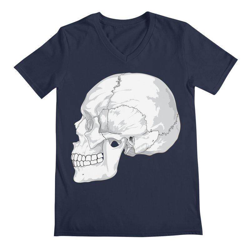 Skull Men's Regular V-Neck by Shirt For Brains
