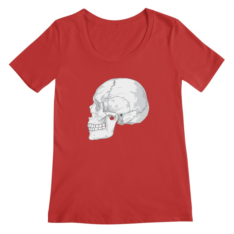 Skull Women's Regular Scoop Neck by Shirt For Brains