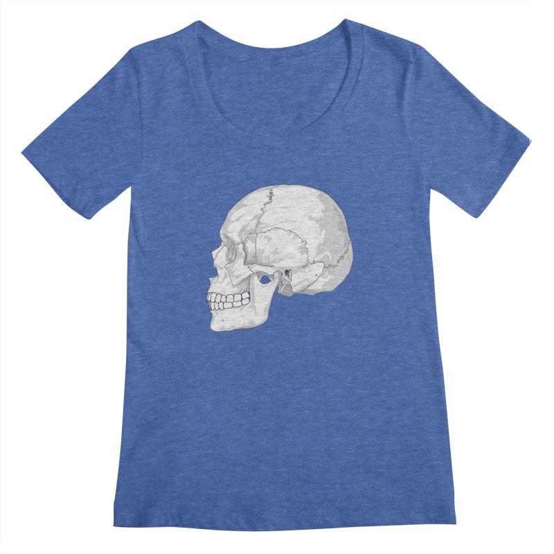 Skull Women's Regular Scoop Neck by Shirt For Brains