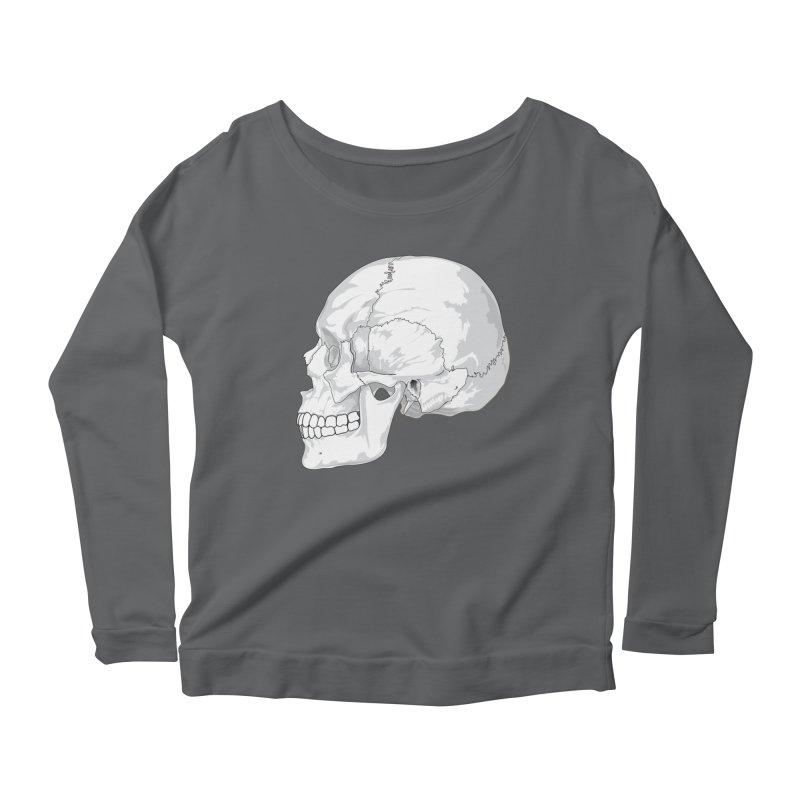 Skull Women's Scoop Neck Longsleeve T-Shirt by Shirt For Brains