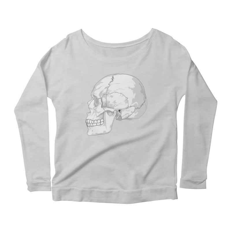 Skull Women's Scoop Neck Longsleeve T-Shirt by Shirt For Brains