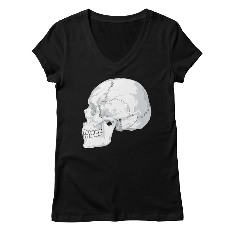 Skull Women's V-Neck by Shirt For Brains