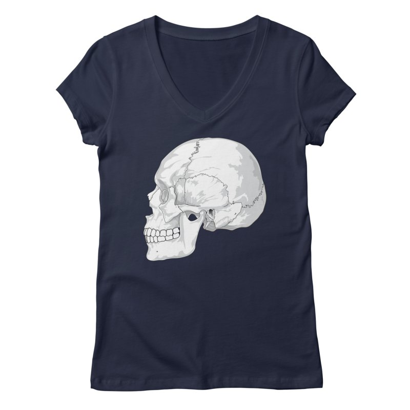 Skull Women's V-Neck by Shirt For Brains