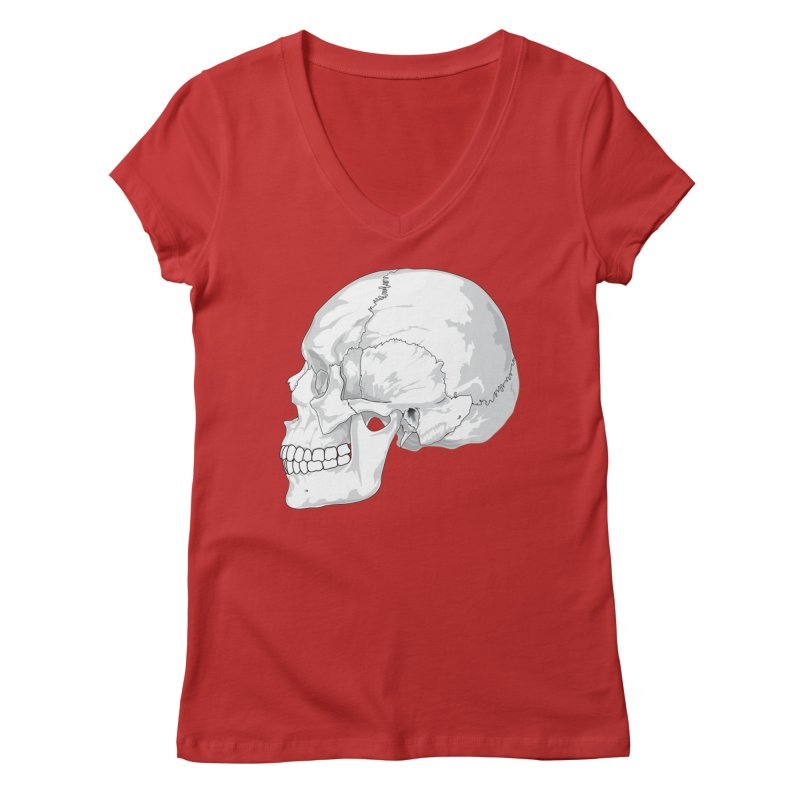 Skull Women's Regular V-Neck by Shirt For Brains