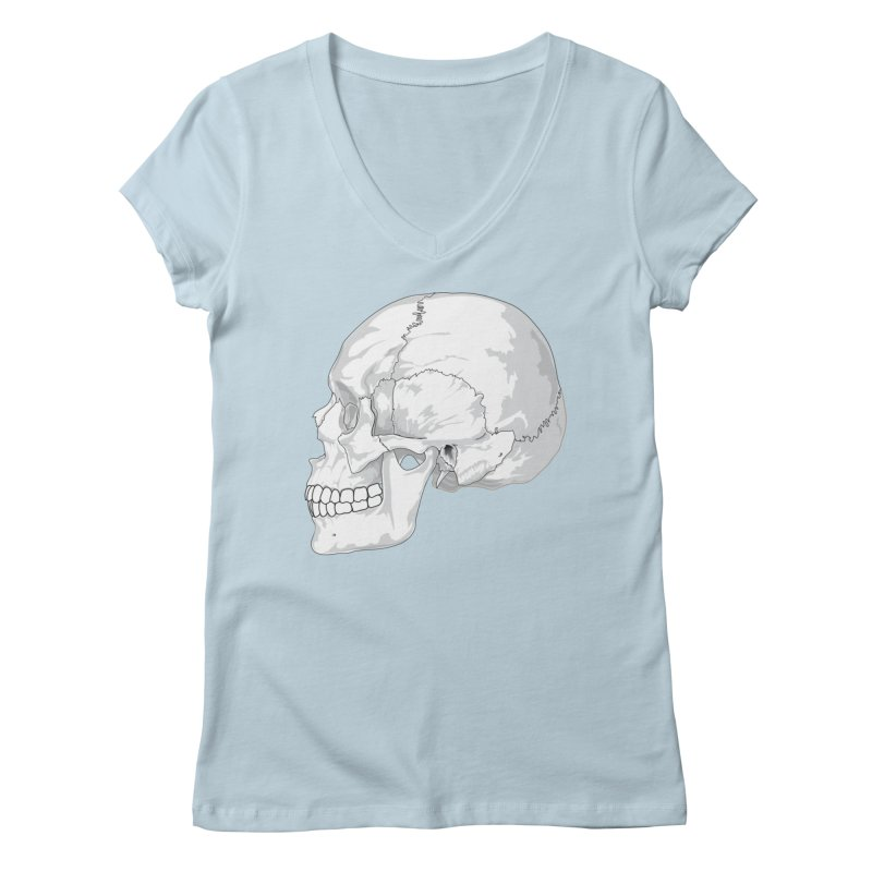 Skull Women's Regular V-Neck by Shirt For Brains