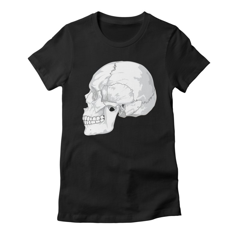 Skull Women's Fitted T-Shirt by Shirt For Brains