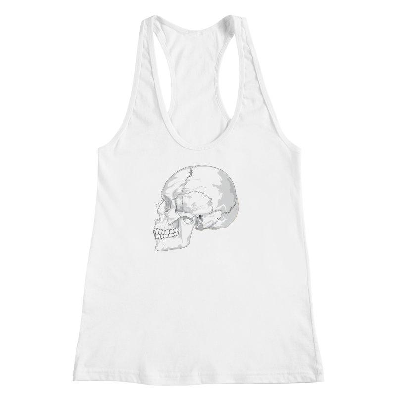 Skull Women's Racerback Tank by Shirt For Brains