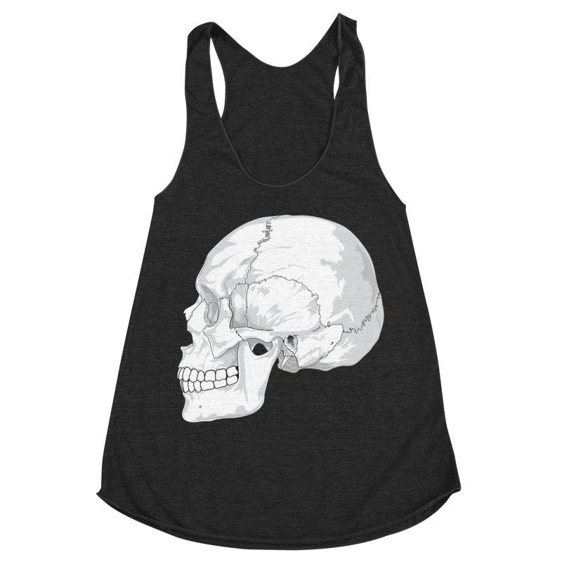 Skull Women's Racerback Triblend Tank by Shirt For Brains