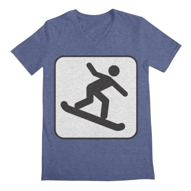 Snowboarder Men's Regular V-Neck by Shirt For Brains