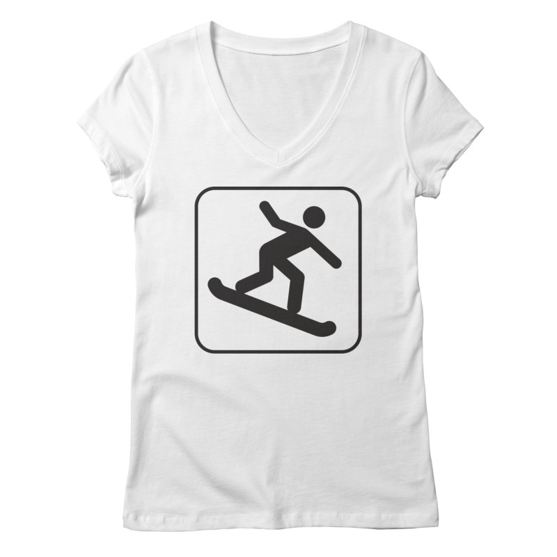 Snowboarder Women's V-Neck by Shirt For Brains