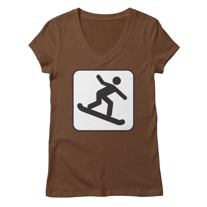 Snowboarder Women's Regular V-Neck by Shirt For Brains