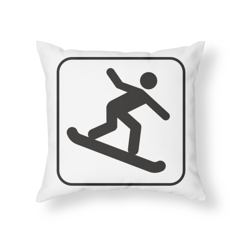 Snowboarder Home Throw Pillow by Shirt For Brains