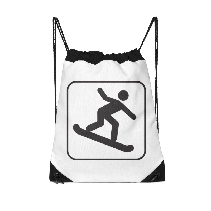 Snowboarder Accessories Drawstring Bag Bag by Shirt For Brains