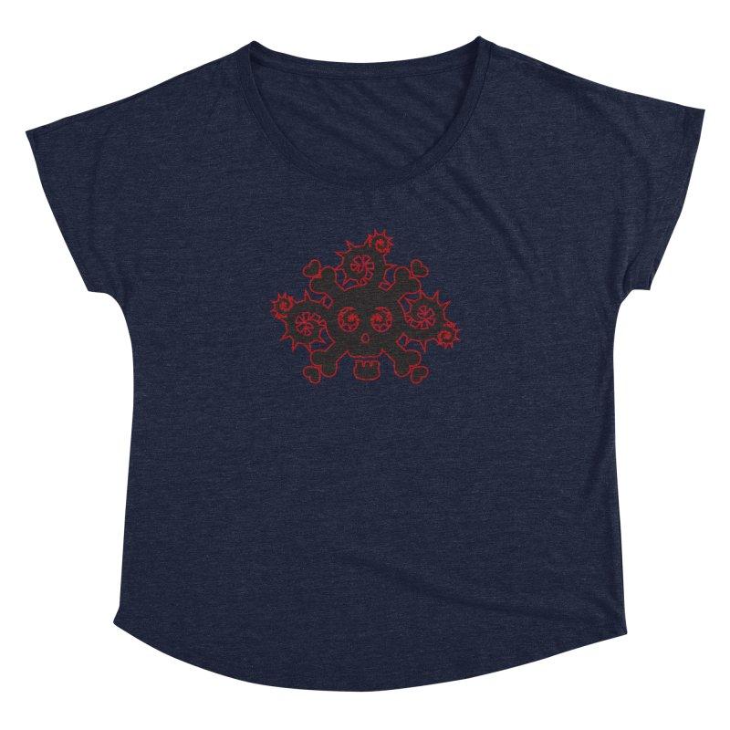 Skull & Crossbones Women's Dolman Scoop Neck by Shirt For Brains