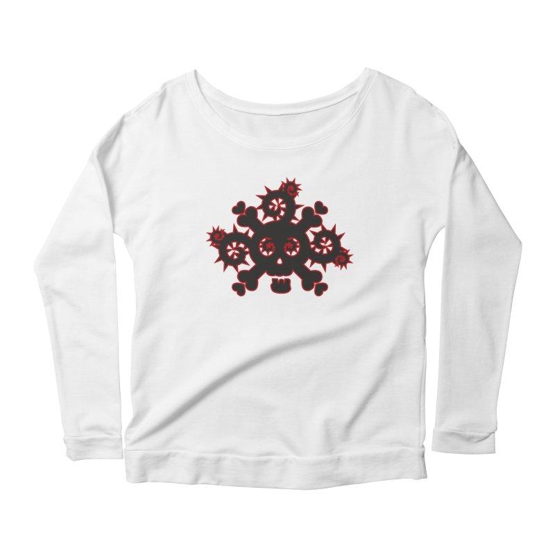 Skull & Crossbones Women's Scoop Neck Longsleeve T-Shirt by Shirt For Brains