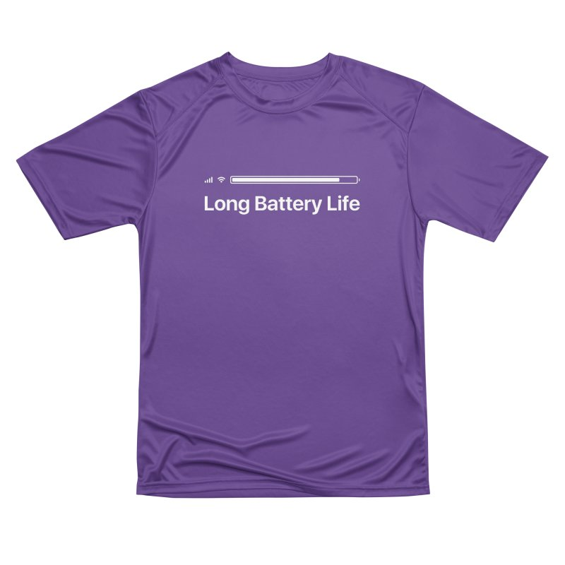 Long Battery Life in Men's Performance T-Shirt Purple by SHIRT MUST GO ON